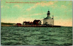 Vintage 1910s NOVA SCOTIA Canada Postcard The Lighthouse, Halifax Harbour