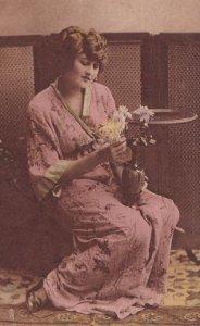 Queen Of My Heart, Woman Enjoying Flowers, TUCK No. 4240, 1900-1910's