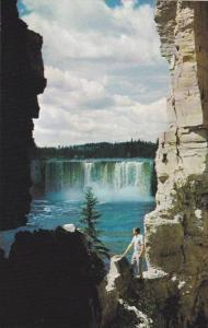 Beautiful Alexandra Falls plunging 106 feet into the Hay River, Northwest Ter...