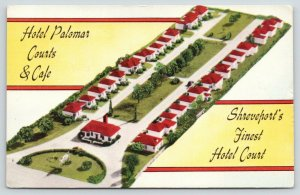 West Shreveport Louisiana~Hotel Palomar Courts & Cafe~Roadside US 80~1950 Linen