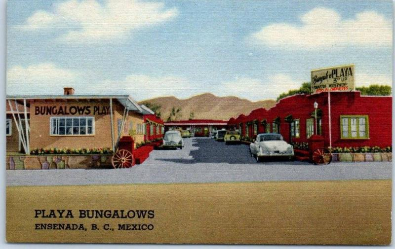 Ensenada BC Mexico Postcard PLAYA BUNGALOWS Motel Roadside Curteich Linen c1950s