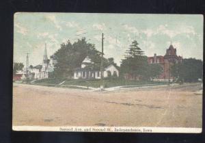 INDEPENDENCE IOWA SECOND AVENUE STREET SCENE CHURCH 1910 POSTCARD FAIRBANK