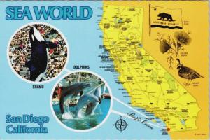 Sea World San Diego CA California Shamu Orca Whale Map Postcard D34 *As Is