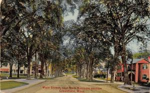 Greenfield Massachusetts~Main Street Homes~East of Business Section~1912 PC