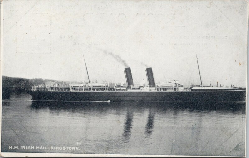 HM 'Irish Mail' Ship Steamship Kingstown Unused Postcard G1