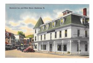 Hardwick Inn and Main Street Hardwick VT Vintage Linen Tichnor Postcard