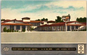 LAS VEGAS Nevada Postcard OLD WEST MOTOR HOTEL Highway 91 Roadside Linen c1950s