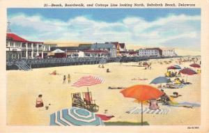 REHOBETH BEACH DELAWARE BEACH~BOARDWALK~COTTAGE LINE NORTH~POSTCARD 1940