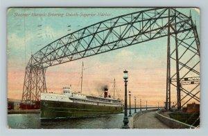 Steamer Huronic Entering Duluth Superior Harbor Vintage c1913 Postcard