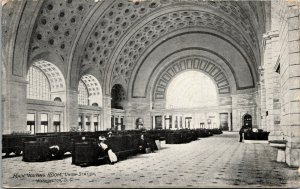 Vtg 1909 Main Waiting Room Union Station Washington DC Postcard