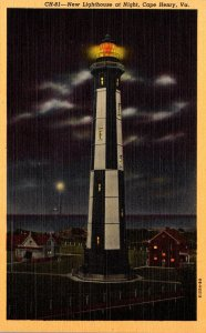 Virginia Cape Henry New Lighthouse At Night Curteich