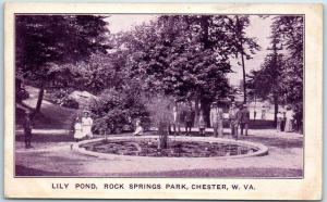 Chester, West Virginia Postcard Lily Pond, ROCK SPRINGS PARK c1910s UNUSED