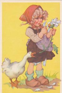Blond Girl in Apron Picking Daisy Petals w/ Duck 1910-20s