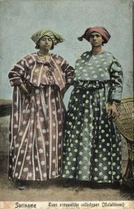 suriname, Two Native Women in Typical Dress, Costumes (1910s) Moravian Mission