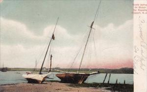 New Jersey Atlantic City Boats Laying On Beach For Repairs Keyport