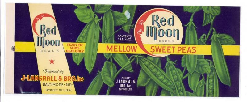 Red Moon Mellow Sweet Peas Vintage Can Label Litho Baltimore