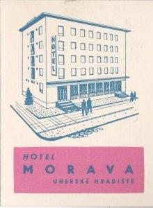 Czechoslovakia Uherske Hradiste Hotel Morava Vintage Luggage Label lbl0816