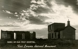 WY - Fort Laramie National Monument. Ruins of Old Post Hospital.  *RPPC