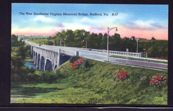 Virginia colour PC SW Memorial Bridge, Radford, unused