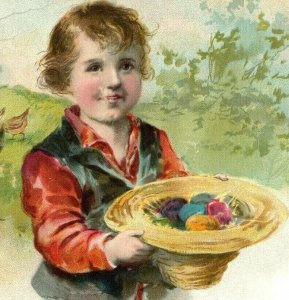 1893 Easter Lion Coffee Woolson Spice Co. Cute Boy Hat Full Of Eggs Chickens *D