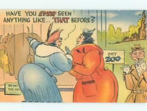 Linen Comic CHUBBY FAT WOMAN LOOKING AT ELEPHANT AC6961