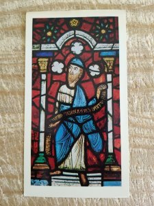 THE PROPHET JEREMIAH FROM STAINED GLASS WINDOW.VTG GLOSSY PAPER POSTCARD*P14