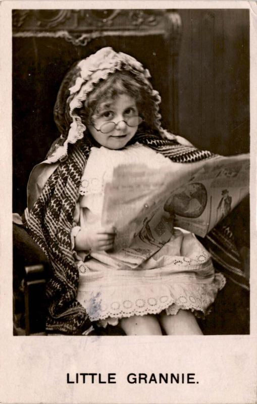 Life Model Series, Little Grannie Girl with Lace Cap, Glasses c1906 Postcard F22