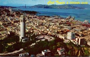 California San Francisco Coit Tower and Golden Gate 1962