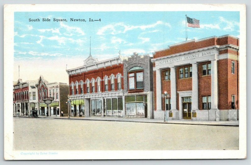 Newton Iowa~South Side Square~Jasper County Savings Bank~Clothing Store~1920s