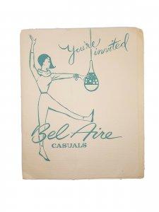 1950's Tuscon Az Bell Aire Casuals Fashion Salon Open House Invitation El Rancho