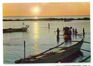 Philippines Fishermen's Boats Manila Bay Sunset  4X6 Postcard