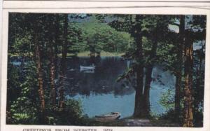 Greetings From Webster Wisconsin Canoe Scene 1938