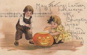 H.B.G.; Halloween , Kids & Jack O'Lantern , 1909