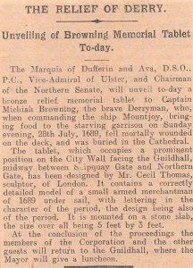 1926 Vintage Belfast Newspaper Clipping Article RELIEF OF DERRY, MEMORIAL TABLET