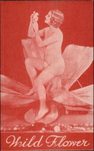 Nude Sexy Showgirl Pin-Up Exhibit Mutoscope Card RED TINT SERIES WILD FLOWER