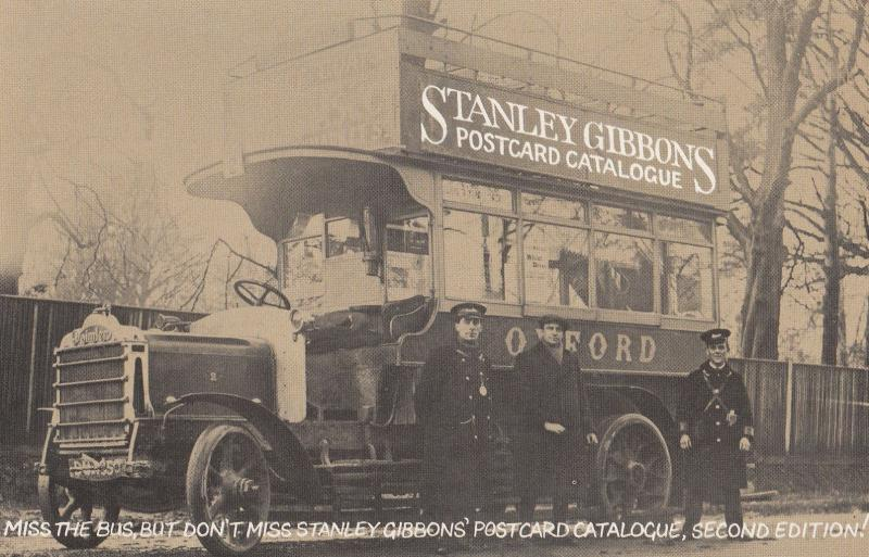 Stanley Gibbons Antique Bus Advertising Postcard