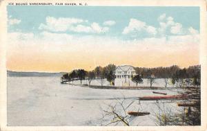 Fair Haven New Jersey Ice Bound Shrewsbury River Antique Postcard K105409