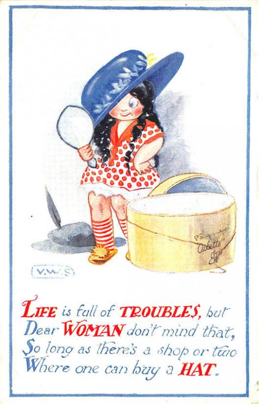 Raphael Tuck Young Girl Hat Box All For Him Signed V. W. S. Postcard