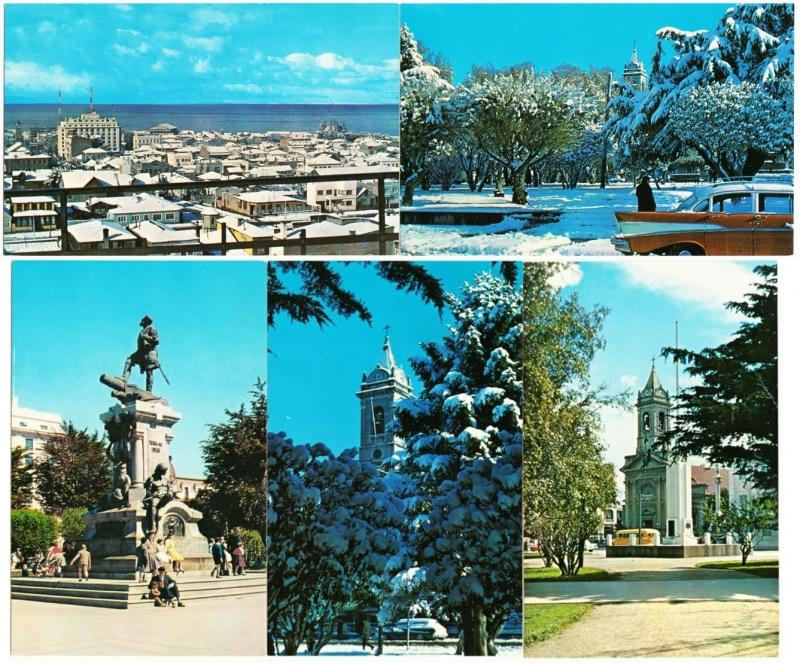 Chile Punta Arenas Lot of 5 1960s-1970s Postcards City Panorama Boats in Port