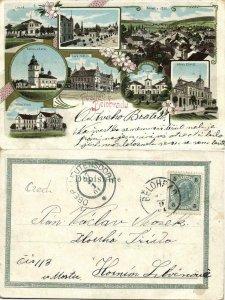 czech, LÁZNĚ BĚLOHRAD, Multiview, Hotel Zátiší, Vlach and Láz (1901) Postcard