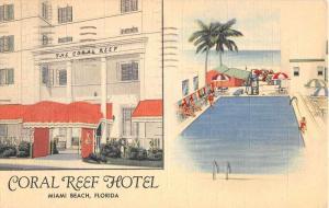 art deco coral reef hotel miami beach florida L5028 antique postcard
