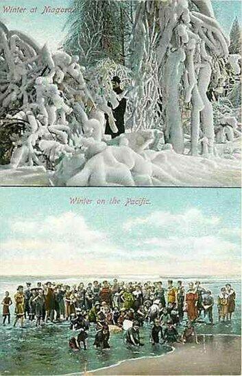 NY, Niagara, New York, Winter at Niagara, Winter on Pacific, Newman Post Card