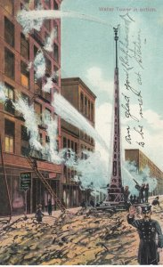 Firemen ; Water Tower in Action , NEW YORK CITY , 1908