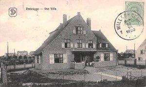 Une Villa Zeebrugge Belgium 1920 Stamp on front