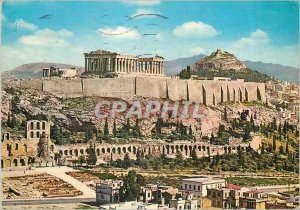 Postcard Modern Athens Acropolis view Philopappe