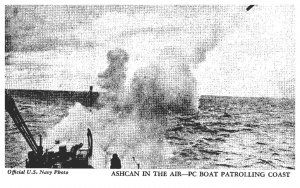 Ship  ,Ashcan in Air-PC Boat patrolling coast , official Navy Photo, Arcade card