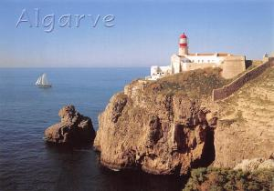 Portugal Algarve Cabo de Sao Vicente Lighthouse Cliff Boat