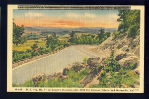 Wytheville/Pulaski, Virginia/VA Postcard, US Highway No 11, Draper's Mountain