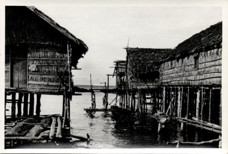 Papua New Guinea, Real Photo Native Papuas, Stilt Houses (1930s) RP (06)