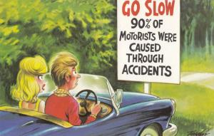 Scary Driving Sign Danger Making Love Makes Motorists Born Comic Humour Postcard